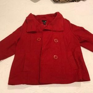 H&M red wool pea coat
